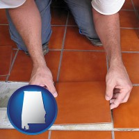 alabama a tile worker laying ceramic floor tile