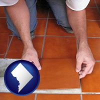 washington-dc map icon and a tile worker laying ceramic floor tile