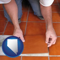 nevada a tile worker laying ceramic floor tile