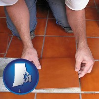 rhode-island a tile worker laying ceramic floor tile