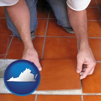 virginia a tile worker laying ceramic floor tile
