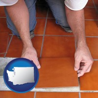washington a tile worker laying ceramic floor tile