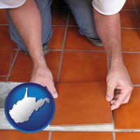 west-virginia a tile worker laying ceramic floor tile